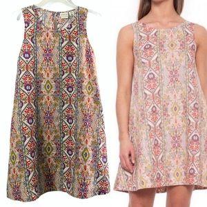 Rachel Zoe 100% linen aztec dress w/ pockets, pink